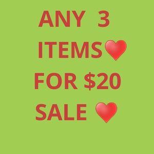 ANY 3 ITEMS ♥️FOR $20